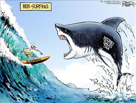 Internet Tax Shark Cartoon