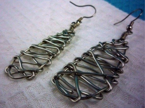 Free Form Wire Earrings in Silver