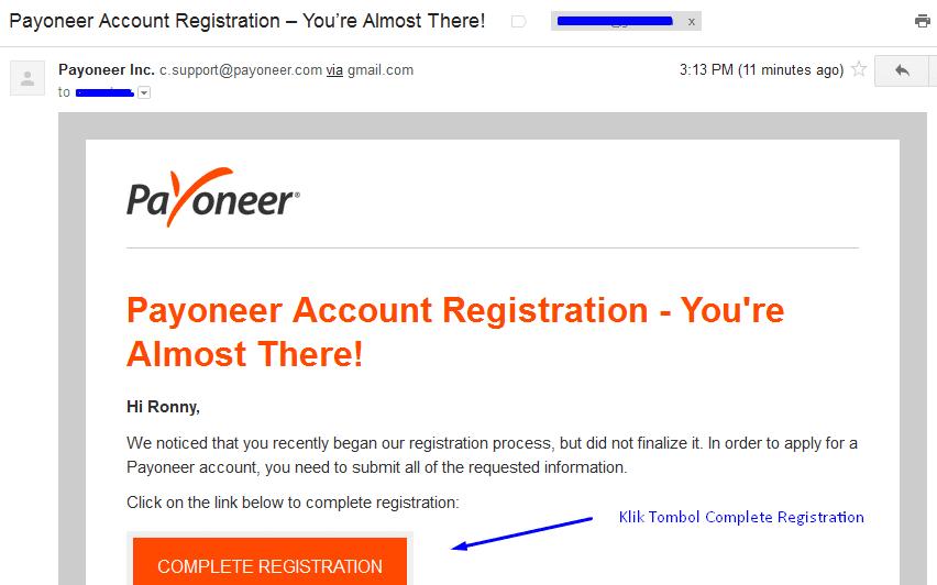 Klik Tombol yang ada di dalam Email Anda