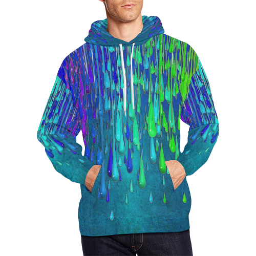 dripping paint All Over Print Hoodie for Men/Large Size (USA Size) (Model H13)