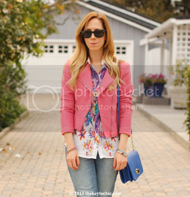 Mossimo cropped jeans, Mossimo floral sleeveless blouse, H&M tweed blazer, L.A. fashion blog