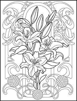 art nouveau animals  flowers adult coloring book