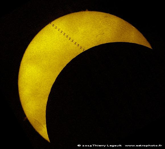 ISS transit of the Sun during the March 20. 2015 partial solar eclipse. Credit and copyright: Thierry Legault.