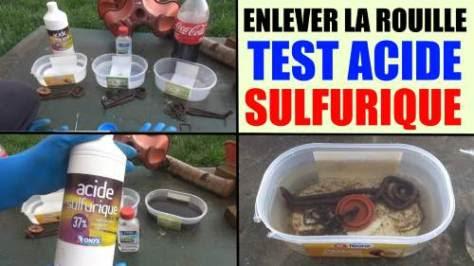 enlever la rouille facilement : acide sulfurique / how to remove rust et acier cuivré décaper dérouiller