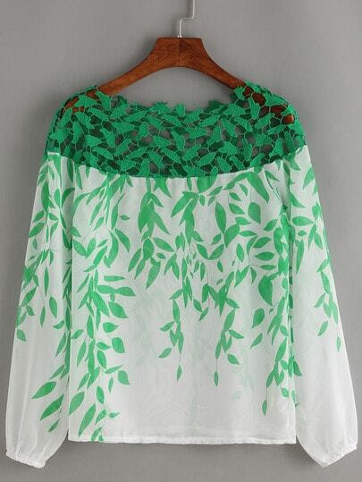 Boat Neck Lace Insert Print Chiffon Shirt pictures