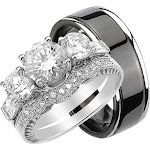 Quality Bridal Ring Set for Him and Her Unique Silver Titanium 6 / 6 / Silver