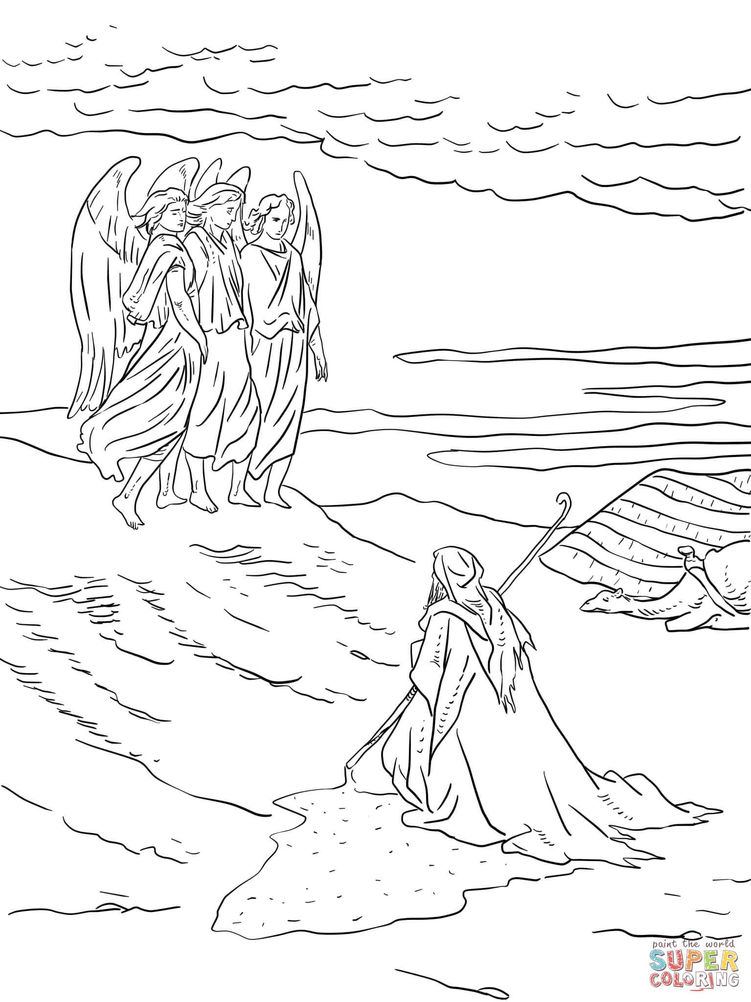 Dibujo De Abraham Y Los Tres ángeles Para Colorear Dibujos Para