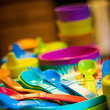 Organizing the kids dishes & saving the earth!