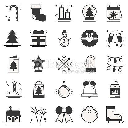 クリスマス ホリデーの薄いライン シルエット アイコンを設定します新年