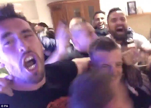 Joy: Leicester players at Jamie Vardy's house in Melton Mowbray reacting to wining the Premier League