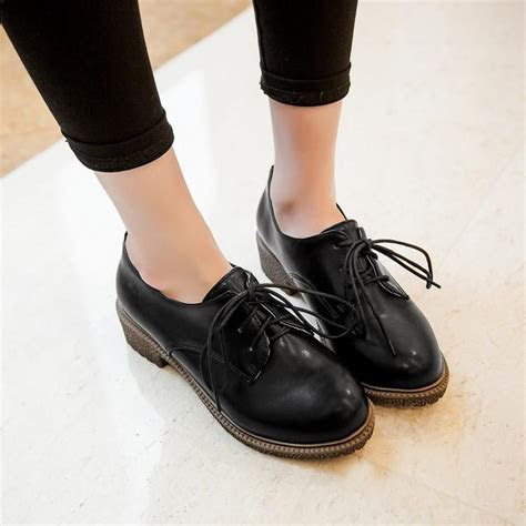 black apricot yellow vintage women oxfords lace  brogues flat shoes girls college oxford shoes
