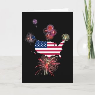 US Flag and Fireworks card