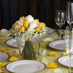 Wedding Table Centerpieces 6 White & Yellow Roses Centerpieces by GlobalRose