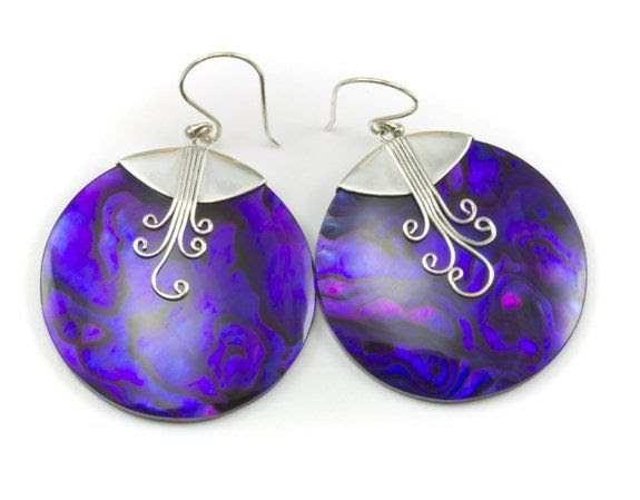 Sterling Silver Paua Abalone Shell Earrings Purple Violet Blue Round