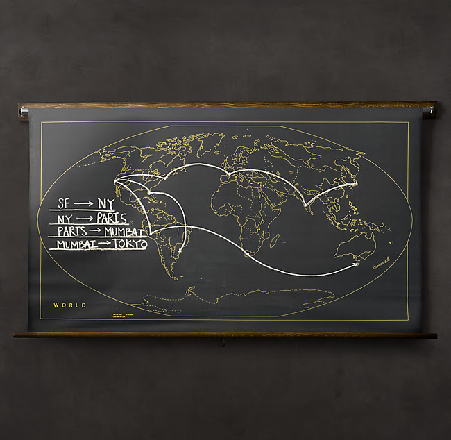 Military Chalkboard World Map