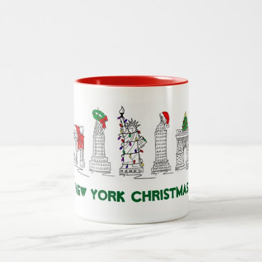New York City Christmas NYC Landmarks Holiday Xmas Two-Tone Coffee Mug