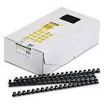 """Plastic Comb Bindings, 1/2"""" Diameter, 90 Sheet Capacity, Black, 100 Co"""