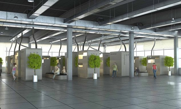 Rest easy: This artist's impression of the boxes show how they will sit in airport lounges, offering an alternative to the perenially uncomfy seats on offer