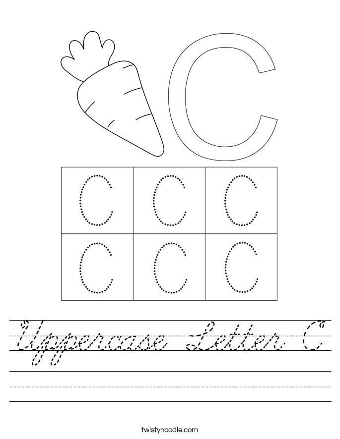 Uppercase Letter C Worksheet - Cursive - Twisty Noodle