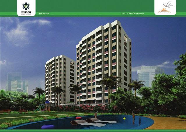 Elevation of 2 Towers with amenities at Vascon Ela - 2 BHK 2.5 BHK Flats opposite Suzlon One Earth at Sade-Satara-Nali (Sade-Satra-Nali) Gram Panchayat, Hadapsar, Pune 411028