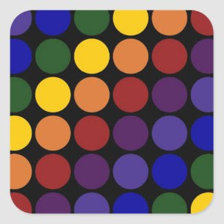 Rainbow Polka Dots on Black Sticker
