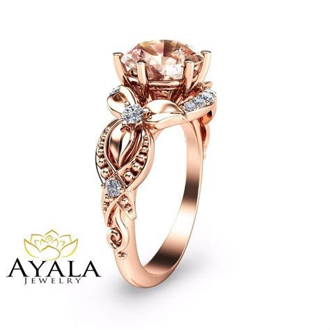 14K Rose Gold Morganite Filigree Ring Rose Gold Engagement