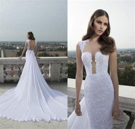 Discount 2015 Hot Neck Lace Wedding Dresses With Sheer