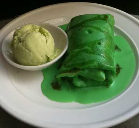 nyonya pandan pancake with coconut filling and pandan icecream