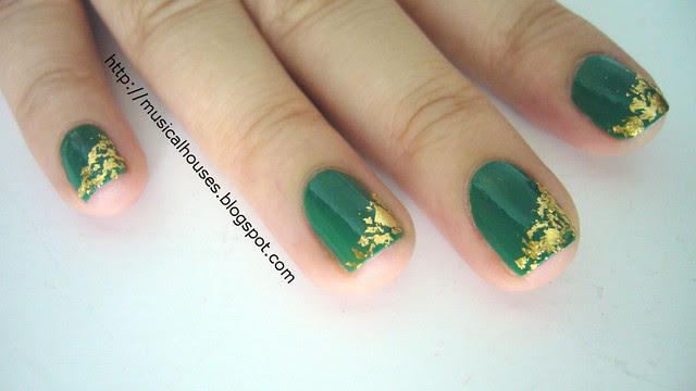 st patricks day nails gold leaf 3
