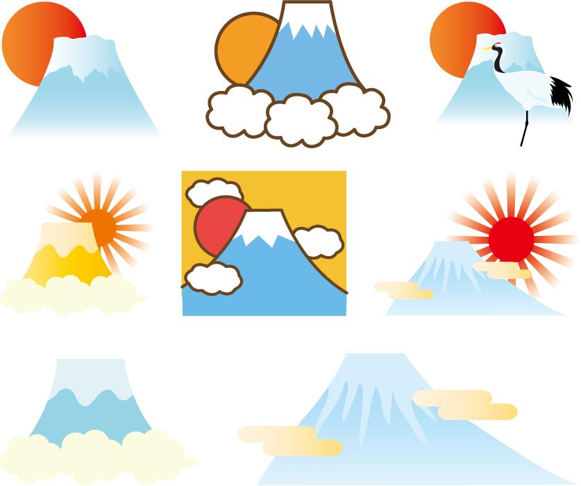フリーイラスト 8種類の富士山と初日の出のセットでアハ体験 Gahag