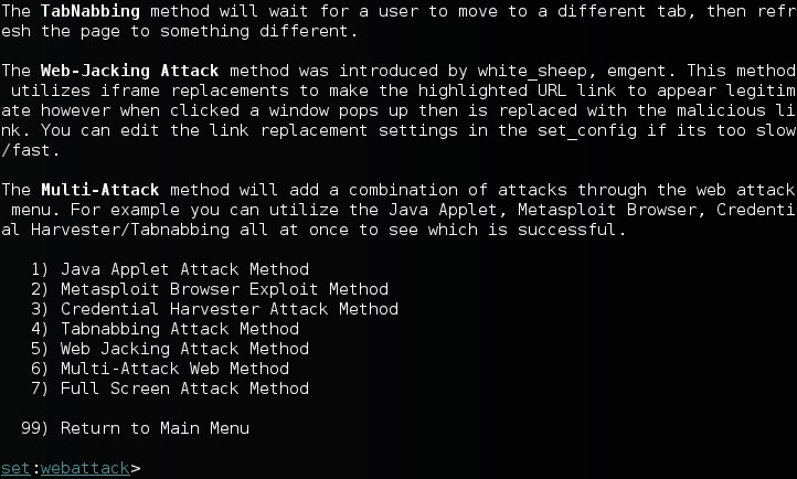 Kali social engineer web attacks