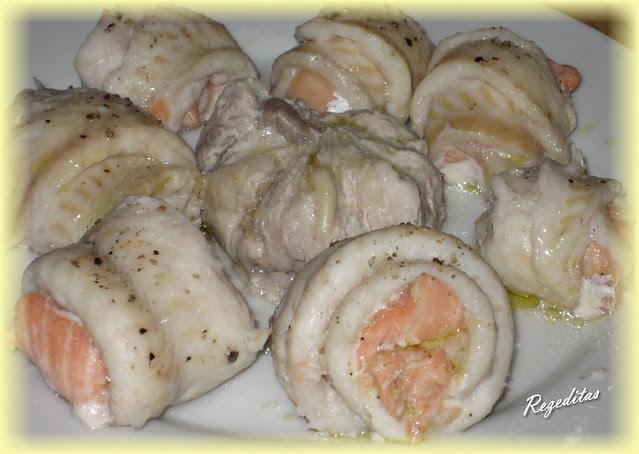 rollitos de lenguado y salmón