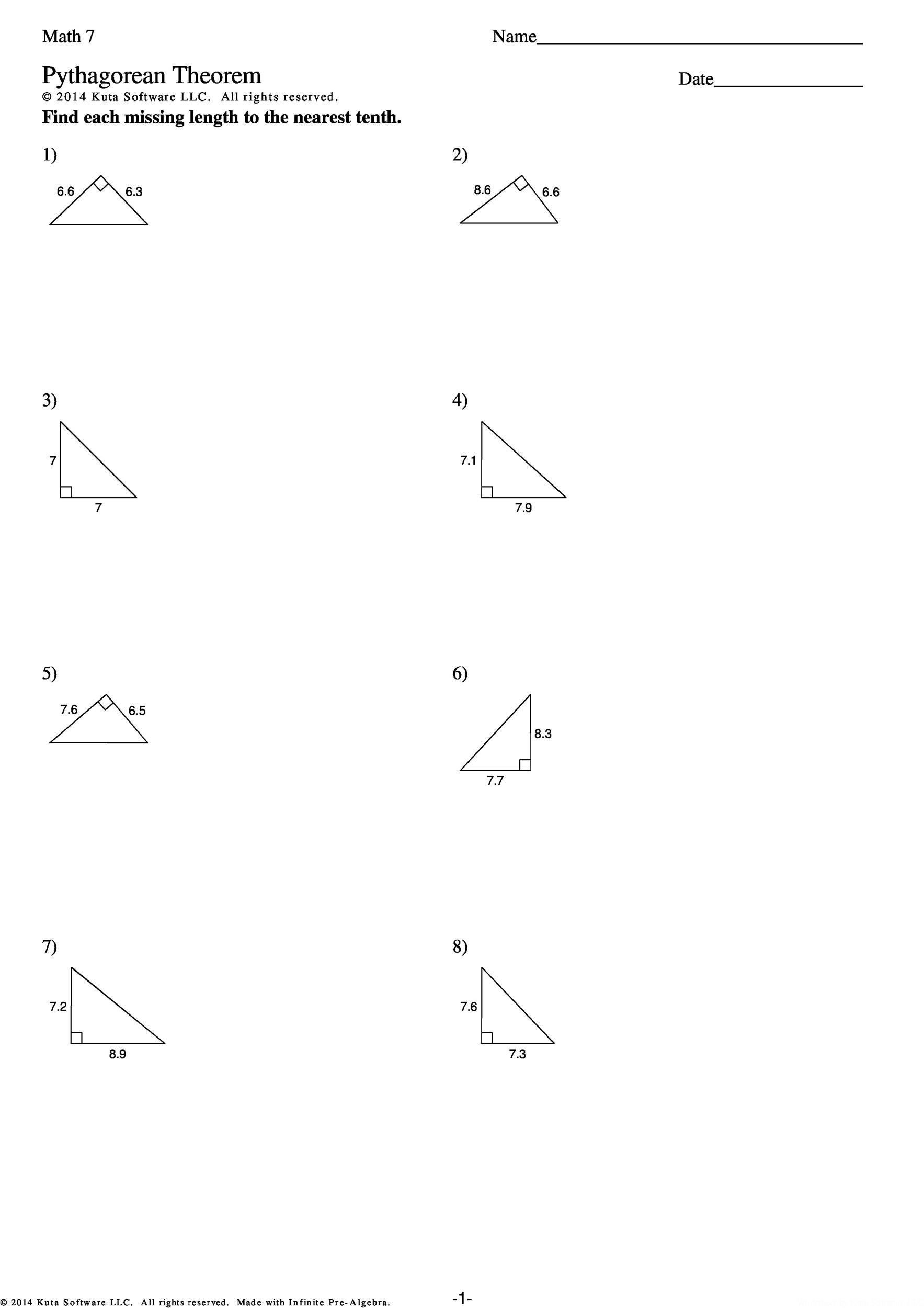 Pythagorean Theorem Worksheet Answer Key Worksheet List