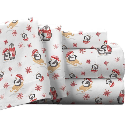 twin xl flannel sheets Pointehaven Living Penguin Cotton Flannel Sheet Set, Twin XL  twin xl flannel sheets