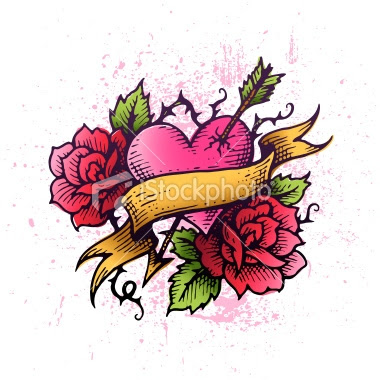 Rose Flowers And Heart Tattoo Design