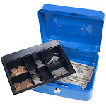 Stalwart 75-0856B 8 in. Locking Cash Box with Coin Tray - Blue