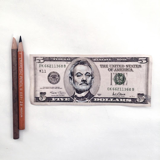 Artist Transforms Abraham Lincoln's Face on a Five Dollar Bill Into Bill Murray