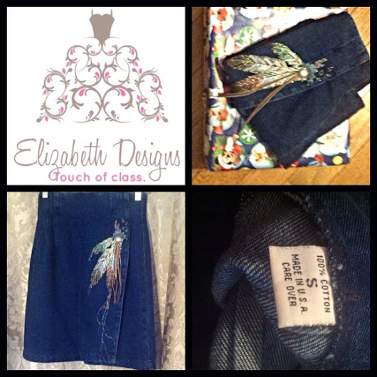 Beautiful blue jean feather skirt XS from Carrie's closet on Poshmark