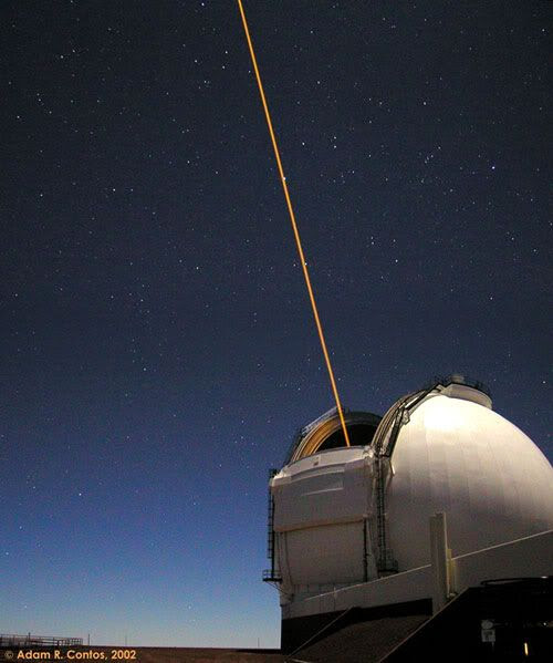 A close-up of the laser that's being shot into the sky by one of the Keck telescopes on Mauna Kea.