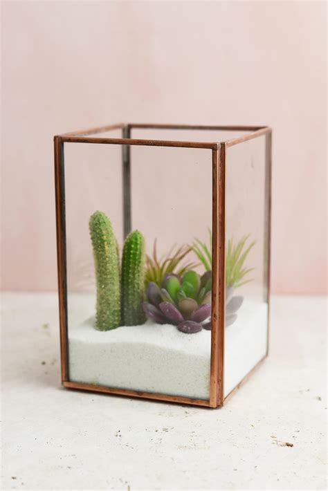 Glass Terrarium Display Case Copper Medium