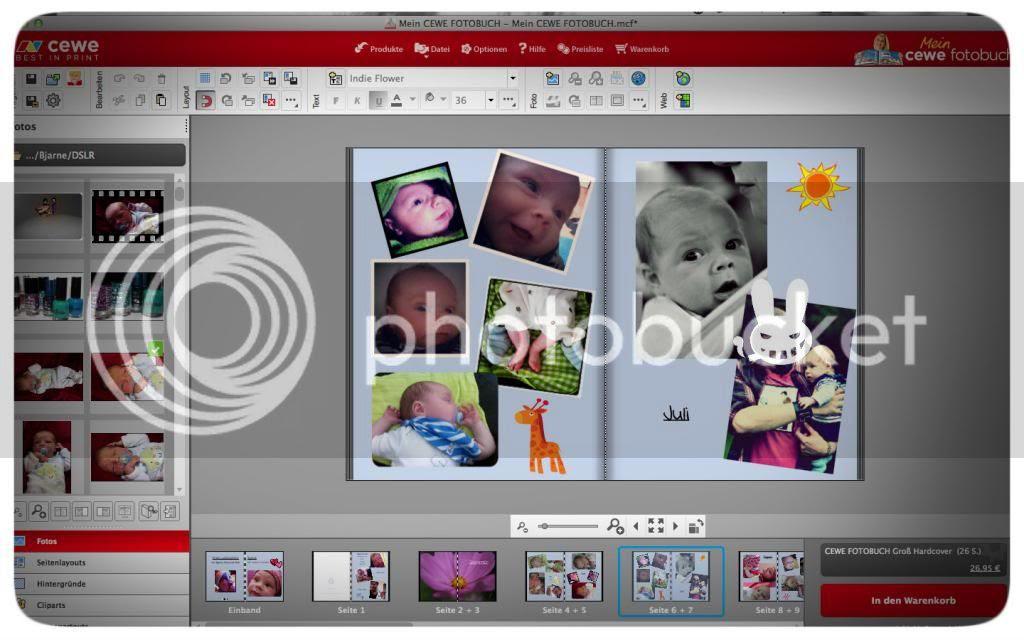 Cewe-Fotobuch - Layout festlegen und Bilder einfügen