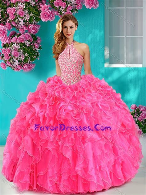 Pretty Beaded and Ruffled Big Puffy Sweet 16 Dresses with