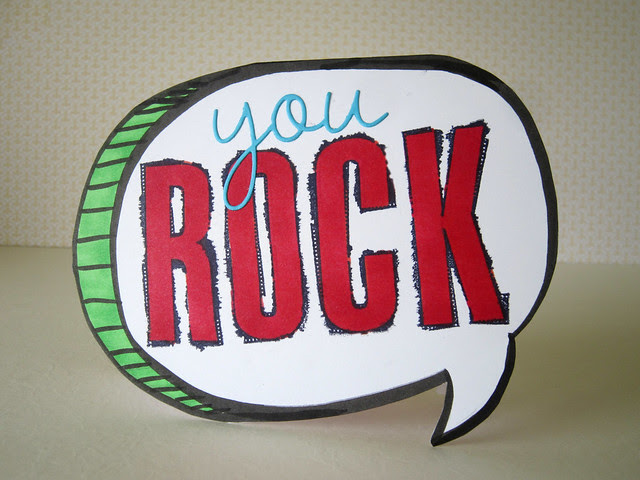 You ROCK Cartoon Shape Card