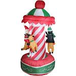 6.5' Inflatable Animated Christmas Carousel Lighted Yard Art Decor by Christmas Central