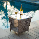 Christopher Knight Home Weston Outdoor Grey Wicker Side Table with Glass Top