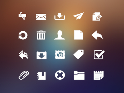 Mailbox inbox interface icon set freebie