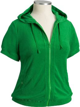 Women's Plus: Women's Plus Loop Terry Hoodies - Green Light