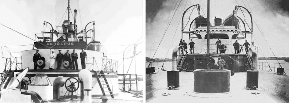 Left: Sailors pose on the forward superstructure of Cerberus. Right: Officers gathered on the quarterdeck of Cerberus