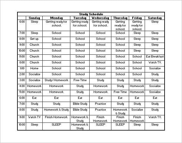 Homework schedule example
