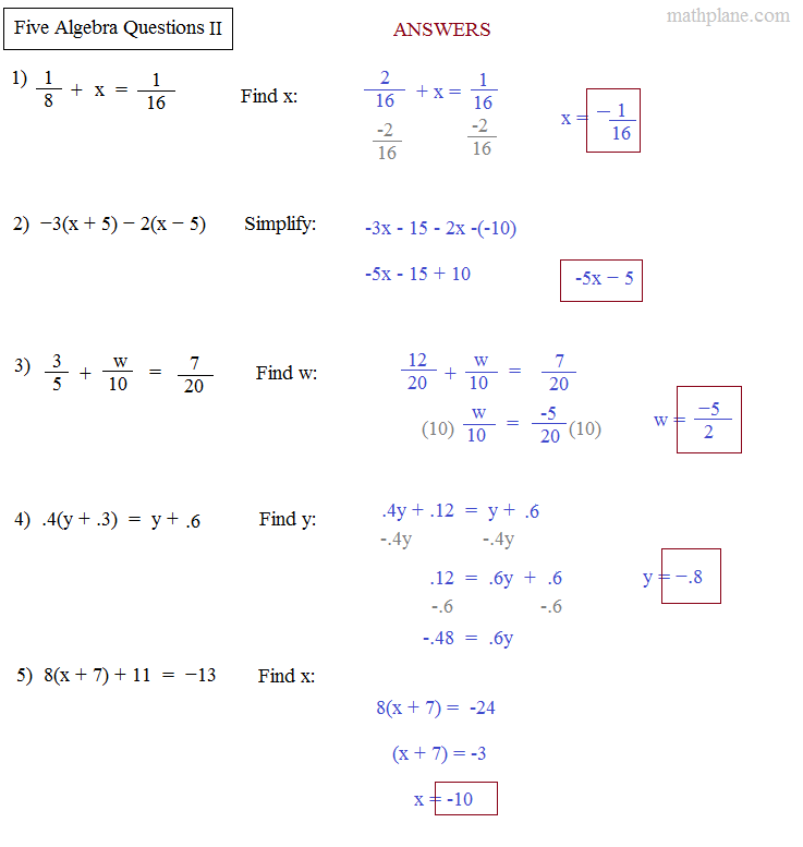 Math Plane - Algebra Preview 2: 5 Algebra Questions